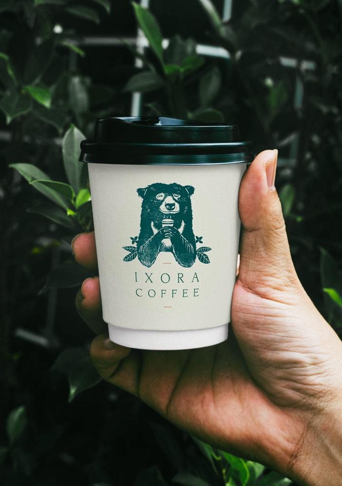 Ixora-Coffee-branding-coffee-cup-Wild-Bear-Designs-1