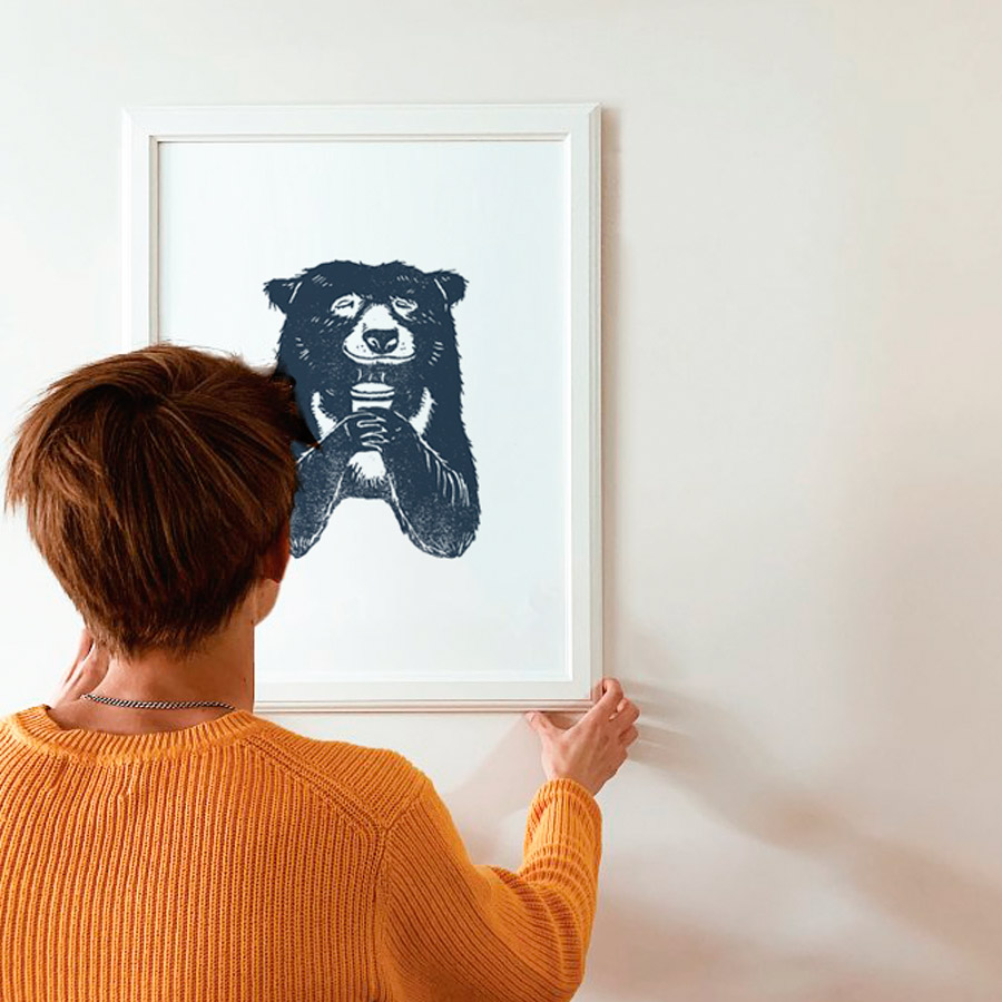 Bear-with-coffee-a4-giclee-print-framed-pic1