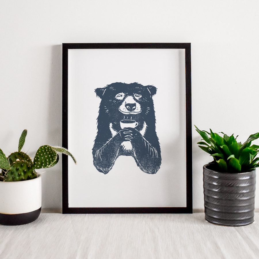 Bear-with-coffee-a4-giclee-print-framed-pic2