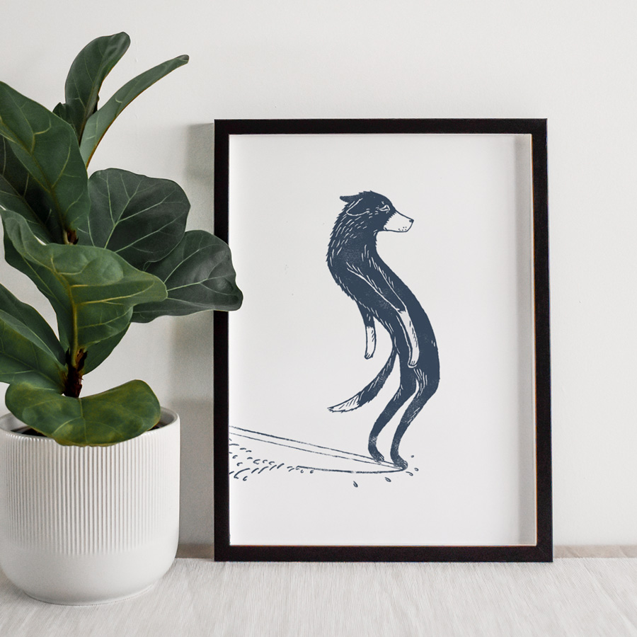 Surfing-dog-hang-ten-surf-art-a4-giclee-print-framed-pic1