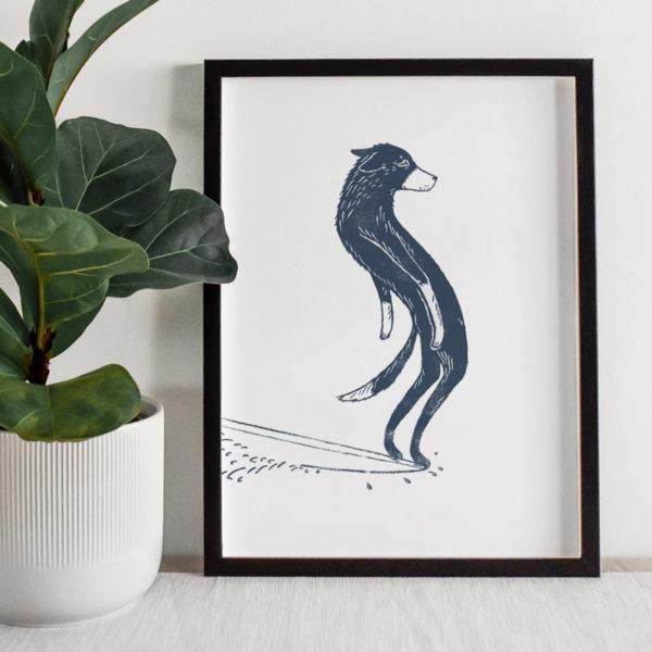 Surfing-dog-surf-art-a4-giclee-print-shop-wild-bear-designs